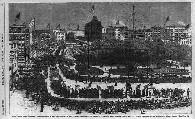 New York City - grand demonstration of workingmen, September 5th - the procession passing the reviewing stand at Union Square [Bird's-eye view]