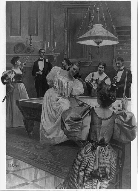 An evening at billiards [men and women playing billiards]