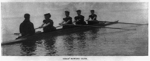 Glimpses of Greater Chautauqua, the remarkable summer school on Chautauqua Lake, New York - girls' rowing club [4 girls rowing]