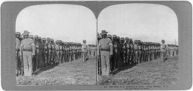 The 24th U.S. Infantry at drill, Camp Walker, Philippine Islands
