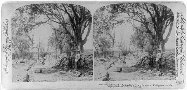 Trenches deserted by Aguinaldo's army, Malabon, Philippine Islands