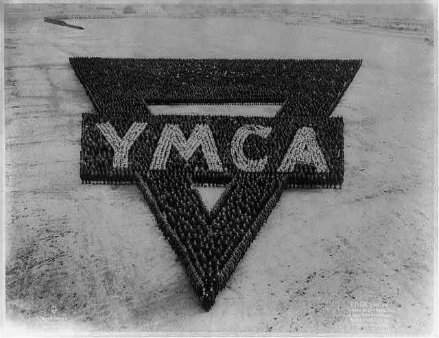 Y.M.C.A. emblem formed by officers, men, and camp activity workers at Camp Wheeler, Ga.: Lt. Gen. J.B. Moss [commanding]