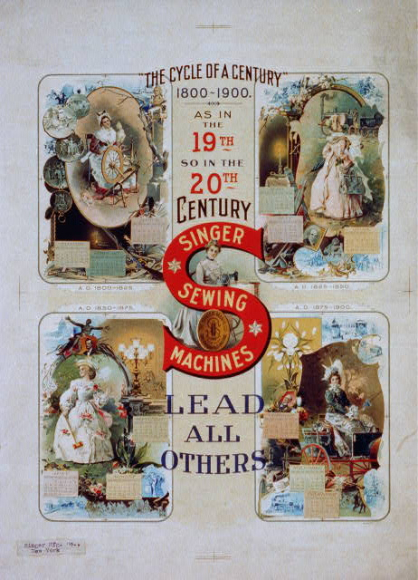 """The cycle of a century"" 1800-1900. Singer sewing machines lead all others"