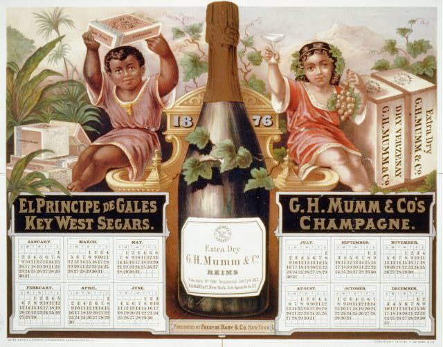 [1876 calendar for El Principe de Gales Key West Segars and G.H. Mumm & Co.'s Champagne, showing boy holding box of cigars and girl holding grapes and champagne glass]