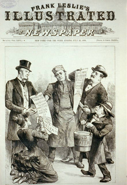 "Which? A timely question [man labeled ""popular vote"" looking at Republican, Democratic, women suffrage, and temperance advocates]"