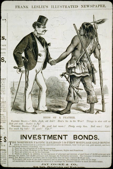 "Birds of a feather [cartoon showing ""Eastern bravo"" man, with 4 pistols sticking out of his pockets, shaking hands with ""Western bravo"" (an Indian, who has rifle, spear, knife and tomahawk)]"