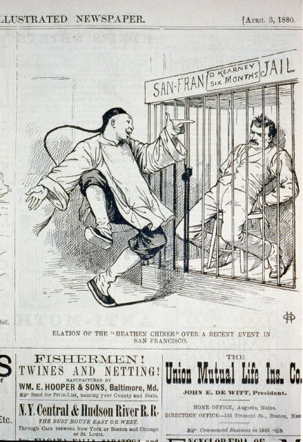 "Elation of the ""heathen Chinee"" over a recent event in San Francisco [caricature of a Chinese man pointing and laughing at Denis Kearney in San Francisco jail]"