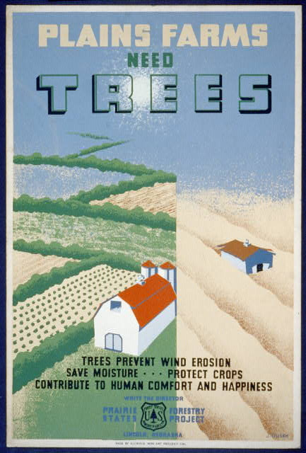 Plains farms need trees Trees prevent wind erosion, save moisture ... protect crops, contribute to human comfort and happiness /