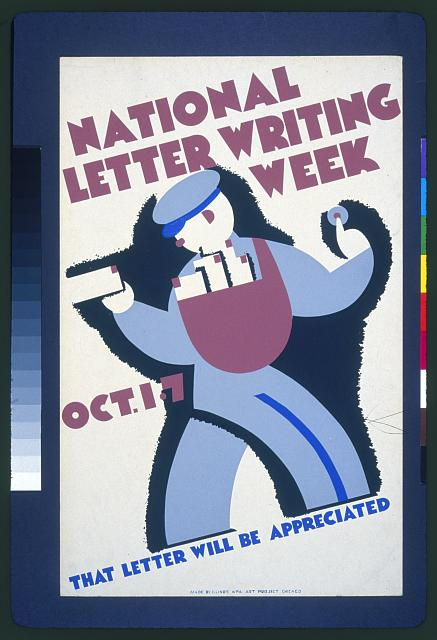 National letter writing week, Oct. 1-7 That letter will be appreciated.