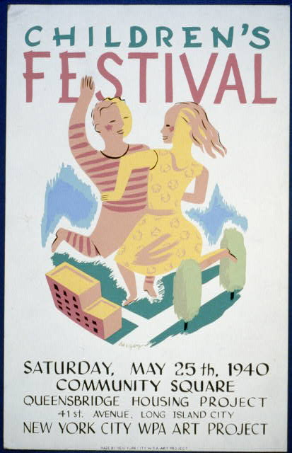 Children&#39;s festival Saturday, May 25th, 1940, Community Square, Queensbridge Housing Project /