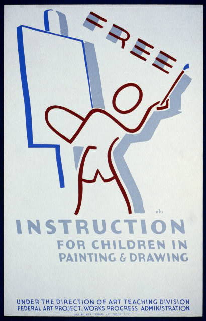 Free instruction for children in painting & drawing