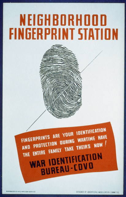 Neighborhood fingerprint station Fingerprints are your identification and protection during wartime - have the entire family take theirs now! : War Identification Bureau - CDVO /