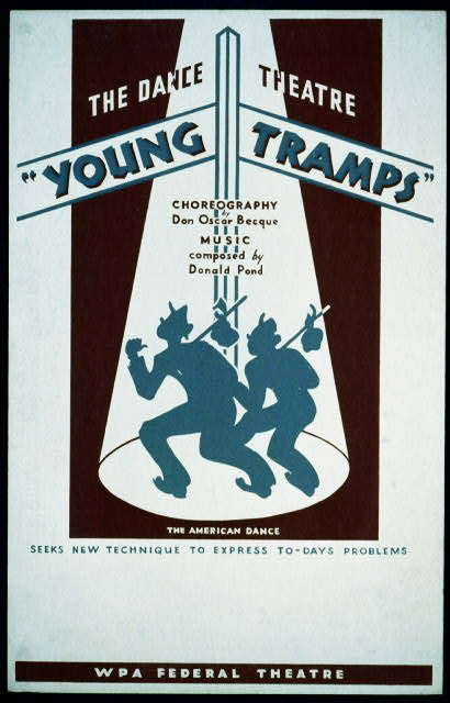 "The Dance Theatre ""Young tramps"" Choreography by Don Oscar Becque, music composed by Donald Pond : The American Dance seeks new technique to express to-days problems."