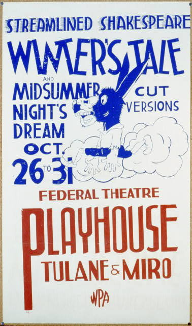 Streamlined Shakespeare - winter's tale and midsummer night's dream Cut versions : Federal Theatre Playhouse, Tulane & Miro.