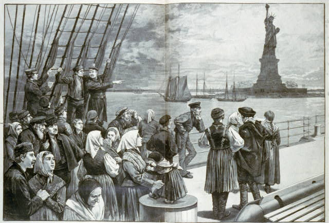 New York - Welcome to the land of freedom - An ocean steamer passing the Statue of Liberty: Scene on the steerage deck