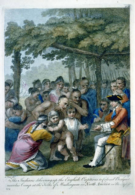 The Indians delivering up the English captives to Colonel Bouquet near his camp at the forks of Muskingum in North America in Novr. 1764