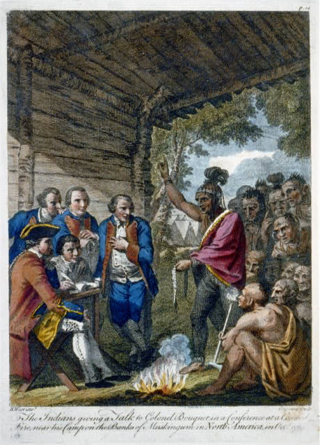 The Indians giving a talk to Colonel Bouquet in a conference at a council fire, near his camp on the banks of Muskingum in North America in Oct. 1764