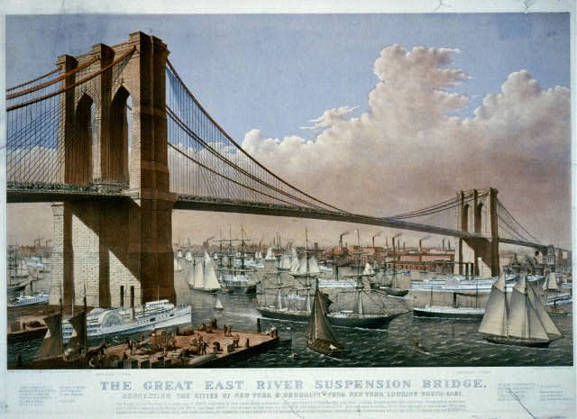 The great East River suspension bridge: connecting the cities of New York & Brooklyn From New York looking south-east.