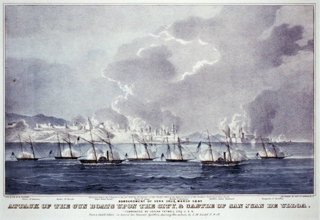 Attack of the gun boats upon the city, & Castle of San Juan de Ulloa. Bombardment of Vera Cruz, March 1847