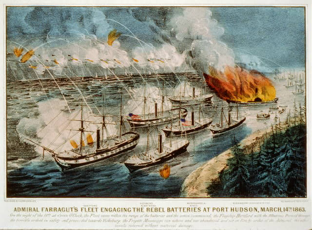 Admiral Farragut's fleet engaging the rebel batteries at Port Hudson, March, 14th 1863