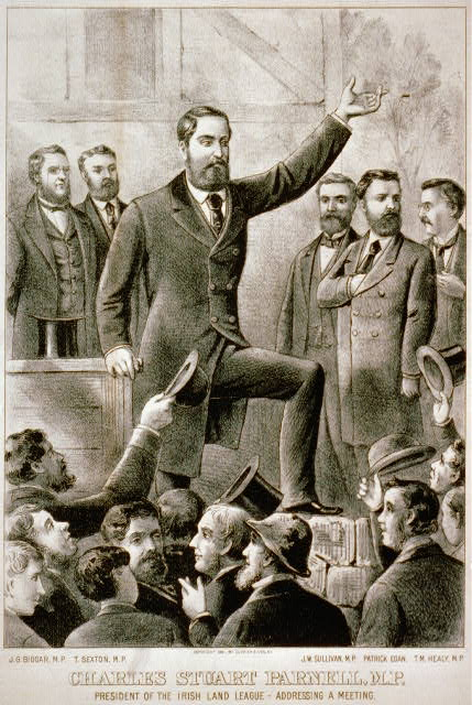 Charles Stuart Parnell, M.P. president of the Irish Land League - addressing a meeting