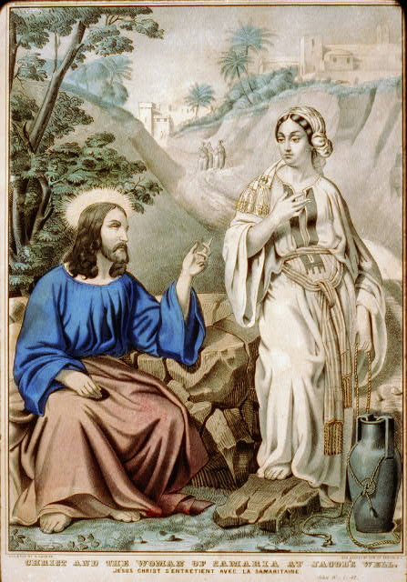 Christ and the woman of Samaria at Jacob's Well: Jesus Christ S'Entretient avec la Samaritaine. John IV - 1:42