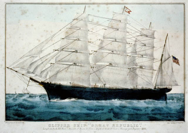 "Clipper ship ""Great Republic"": Length on deck 325 feet.-Breadth of beam 53 feet.-Depth of hold 39 feet.-Tonnage per register 4500"