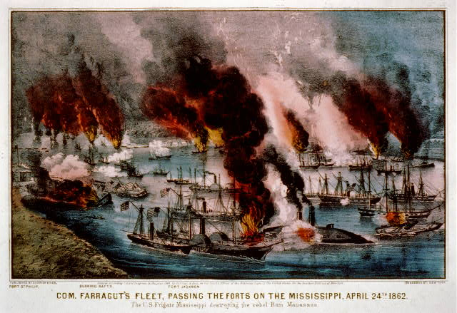 Com. Farragut's fleet, passing the forts on the Mississippi, April 24th 1862 The U.S. Frigate Mississippi destroying the rebel ram Manassas.