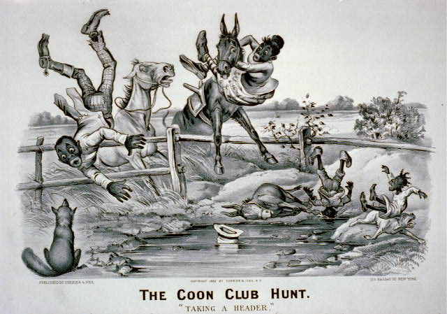 "The coon club hunt--""Taking a header"""