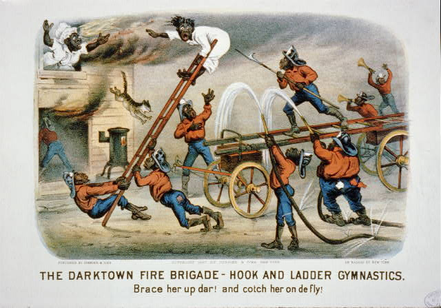 The darktown fire brigade-hook and ladder gymnastics: Brace her up dar! and cotch her on de fly!
