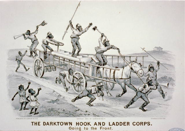 The darktown hook and ladder corps: Going to the front