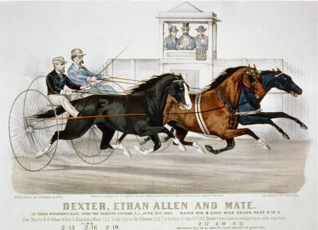 Dexter, Ethan Allen and mate: In their wonderful race, over the fashion course, L.I. June 21st 1867. Match for $2,000 mile heats best 3 in 5
