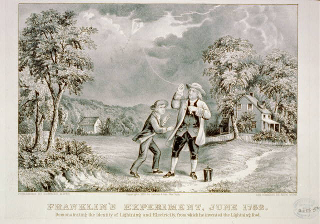 Franklin's experiment, June 1752: Demonstrating the identity of lightning and electricty, from which he invented the lightning rod