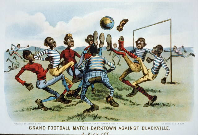 Grand football match--darktown against Blackville: a kick off