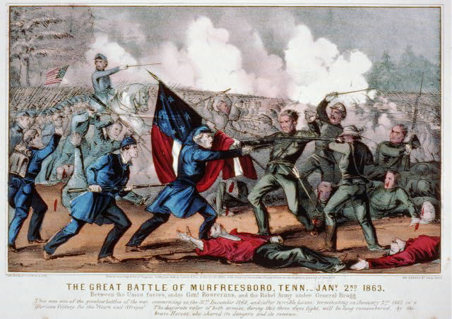Great Battle of Murfreesboro, Tenn. - Jany, 2nd 1863: between the Union Forces, under Genl. Rosecrans, and the Rebel Army under General Bragg
