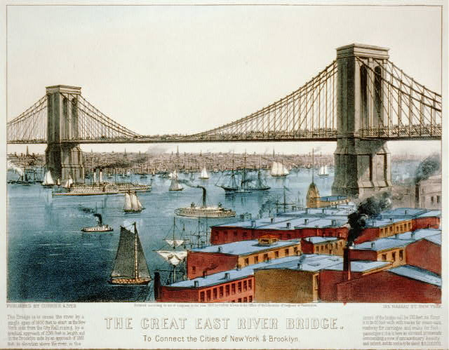 The great East River bridge: to connect the cities of New York & Brooklyn
