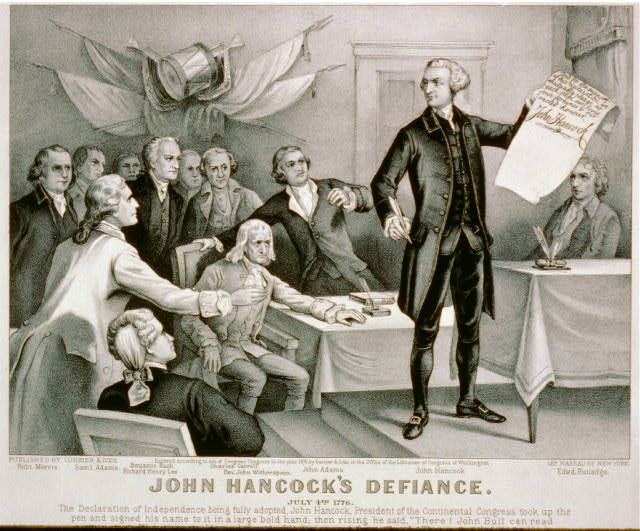 John Hancock&#39;s defiance: July 4th 1776