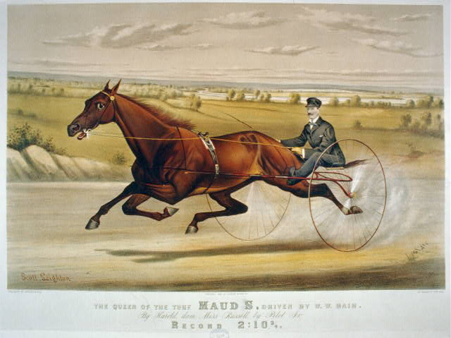 "The queen of the turf ""Lady Thorn"" driven by Dan Pfifer: trotting a mile heat in harness in 2:08 3/4, at Narragansett Park, Providence, October 8th, 1869"
