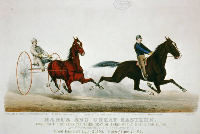 Rarus and Great Eastern: crossing the score in the thrid heat of their great match for $1000. at Fleetwood Park, N.Y. Sept. 22nd 1877