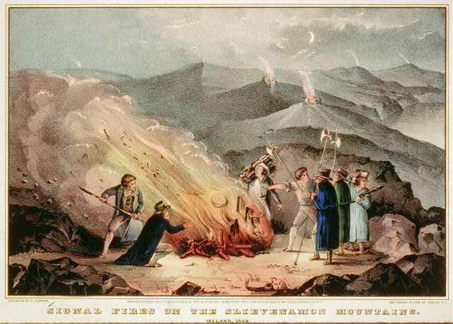 Signal fires on the Slievenamon Mountains - Ireland, 1848