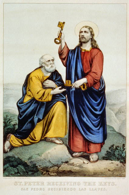 St. Peter receiving the keys: San Pedro recibiendo las llaves