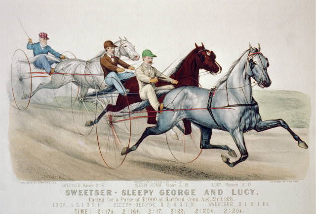 Sweetser, Sleepy George and Lucy, pacing for a purse of $1,000 at Hartford Conn., Aug. 22, 1878
