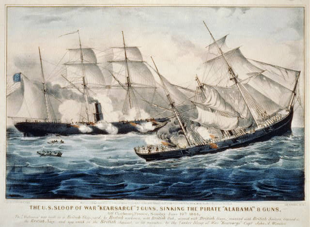 "The U.S. sloop of war ""Kearsarge"" 7 guns, sinking the pirate ""Alabama"" 8 guns: off Cherbourg, France, Sunday June 19th. 1864"