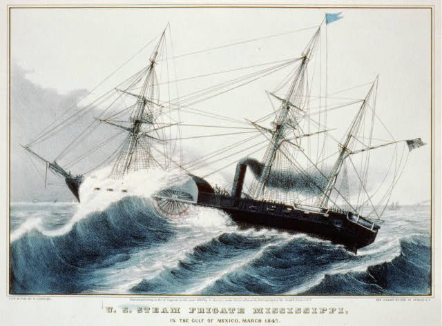 U.S. steam frigate Mississippi, in the Gulf of Mexico, March 1847