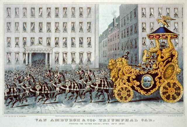 Van Amburgh & Cos. triumphal car: passing the Astor House, April 20th. 1846