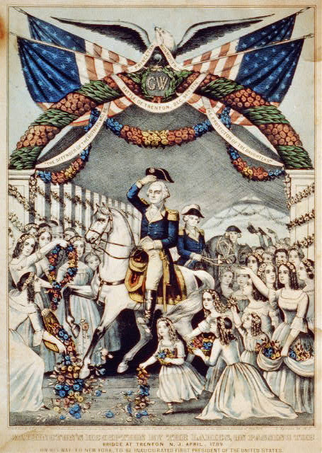 Washington's reception by the ladies, on passing the bridge at Trenton, N.J. April,--1789: on his way to New York to be inaugurated first President of the United States