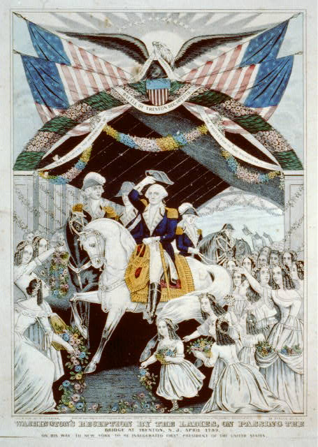 Washington's reception by the ladies, on passing the bridge at Trenton, N.J. April, 1789: on his way to New York to be inaugurated first President of the United States