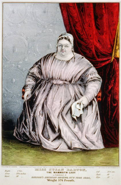 Miss Susan Barton: the mammoth lady, as exhibited at Barnum's American Museum, New York 1849, weight 576 pounds