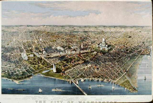 The City of Washington birds-eye view from the Potomac-looking north /