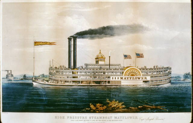 High pressure steamboat Mayflower first class packet between St. Louis and New Orleans on the Mississippi River - Capt. Joseph Brown.